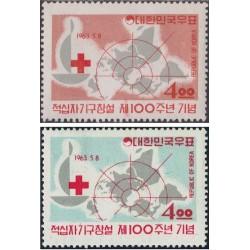 2 عدد تمبر صدمین سالگرد صلیب سرخ - کره جنوبی 1963