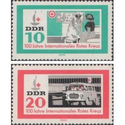 2 عدد تمبر صدمین سالگرد صلیب سرخ - جمهوری دموکراتیک آلمان 1963