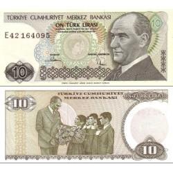 اسکناس 10 لیر - ترکیه 1970 سریال با اثر ماورای بنفش