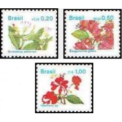 3 عدد تمبر سری پستی -گلها - برزیل 1989