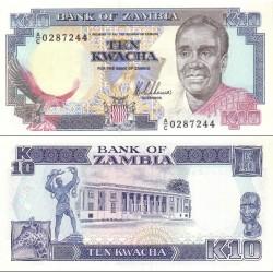 اسکناس 10 کواچا - زامبیا 1989