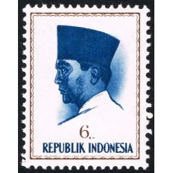 1 عدد تمبر سری پستی پرزیدنت سوکارنو - 6 - اندونزی 1964