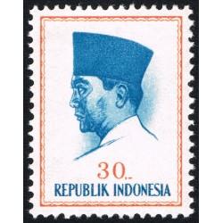1 عدد تمبر سری پستی پرزیدنت سوکارنو - 30 - اندونزی 1964