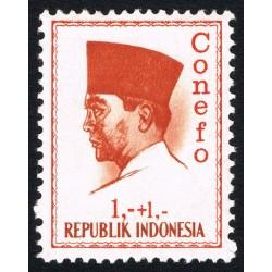 1 عدد تمبر سری پستی - کنفرانس نیروی تازه -  پرزیدنت سوکارنو - 1+1 - اندونزی 1965