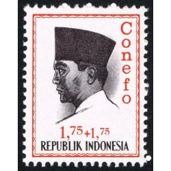 1 عدد تمبر سری پستی - کنفرانس نیروی تازه -  پرزیدنت سوکارنو -  1.75+1.75 - اندونزی 1965