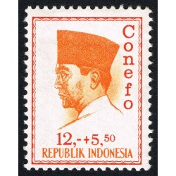 1 عدد تمبر سری پستی - کنفرانس نیروی تازه -  پرزیدنت سوکارنو -  12+5.50- اندونزی 1965