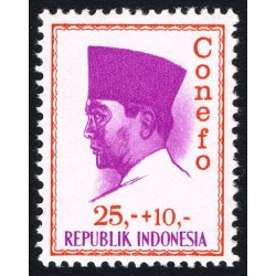 1 عدد تمبر سری پستی - کنفرانس نیروی تازه -  پرزیدنت سوکارنو - 25+10- اندونزی 1965