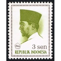 1 عدد تمبر سری پستی -  پرزیدنت سوکارنو - 3 سن - اندونزی 1966