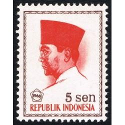 1 عدد تمبر سری پستی -  پرزیدنت سوکارنو - 5 سن - اندونزی 1966