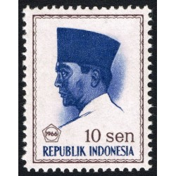 1 عدد تمبر سری پستی -  پرزیدنت سوکارنو - 10 سن - اندونزی 1966
