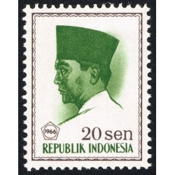 1 عدد تمبر سری پستی -  پرزیدنت سوکارنو - 20 سن - اندونزی 1966