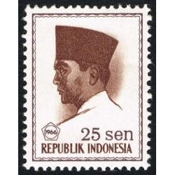 1 عدد تمبر سری پستی -  پرزیدنت سوکارنو - 25 سن - اندونزی 1966