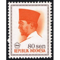 1 عدد تمبر سری پستی -  پرزیدنت سوکارنو - 80 سن - اندونزی 1966