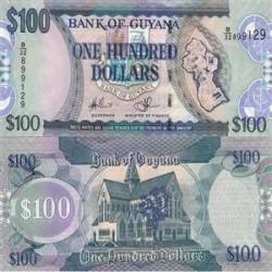 اسکناس 100 دلار - گویانا 2012  فیلیگران طوطی و عدد
