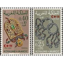 2 عدد تمبر صلیب سرخ - شیر و خورشید - جواهرات - مراکش 1969