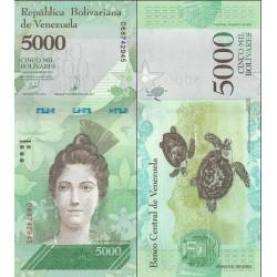 اسکناس 5000 بولیوار - ونزوئلا 2017 تاریخ  13.12.2017