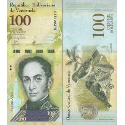 اسکناس 100000 بولیوار - ونزوئلا 2017 تاریخ  13.12.2017 واترمارک - نخ امنیتی عریض