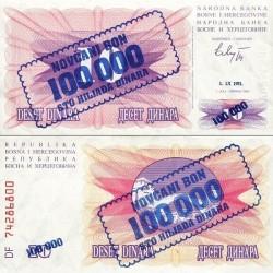 اسکناس سورشارژ 100000 دینار - بوسنی و هرزگوین 1993