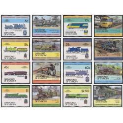 16 عدد تمبر رهبران جهان - لوکوموتیوها - گرندین سنت وینسنت 1984