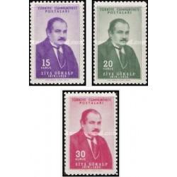 3  عدد تمبر  30مین سالگرد درگذشت ضیا گولکاپ - جامعه شناس ، نویسنده و شاعر - ترکیه 1954