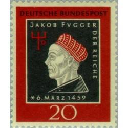 1 عدد تمبر پانصدمین سالگرد تولد جاکوب فوگر - تاجر و بانکدار - جمهوری فدرال آلمان 1959