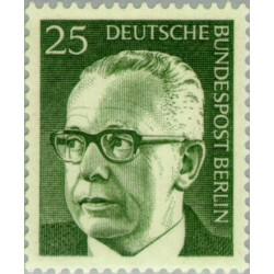 1 عدد تمبر سری پستی رئیس جمهور فدرال گوستاو هاینمان - 25 فنیک  - برلین آلمان 1971