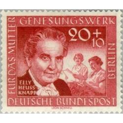 1 عدد تمبر یادبود الی هیوز کنپ -همسر رئیس جمهور و  بنیانگذار موسسی خیریه  Müttergenesungswerk - برلین آلمان 1957