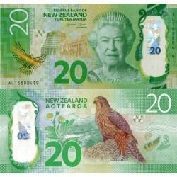 اسکناس پلیمر 20 دلار - نیوزلند 2016 دو رقم اول سریال سال انتشار است - سفارشی - توضیح دارد