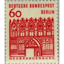 1 عدد تمبر سری پستی - ساختمانهای قرن دوازدهم آلمان - 60 فنیک -برلین آلمان 1964