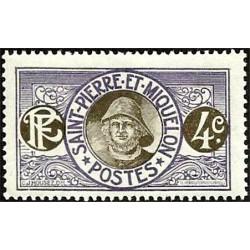 1 عدد تمبر سری پستی - ماهیگیر  -4 سنت - سنت پیر و میکوئلن 1909 با شارنیه