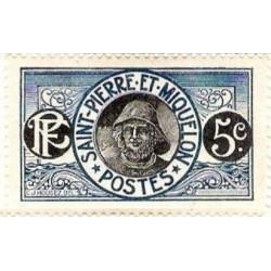 1 عدد تمبر سری پستی - ماهیگیر  - 5 سنت - سنت پیر و میکوئلن 1909 با شارنیه