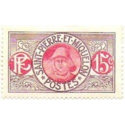 1 عدد تمبر سری پستی - ماهیگیر  - 15 سنت - سنت پیر و میکوئلن 1909 با شارنیه