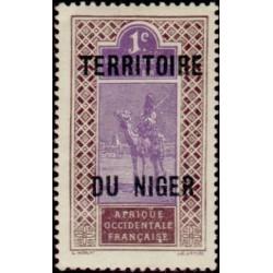 1 عدد تمبر سری پستی - سورشارژ قلمرو نیجر - 1 سنت - نیجر 1921 با شارنیه
