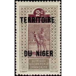 1 عدد تمبر سری پستی - سورشارژ قلمرو نیجر - 2 سنت - نیجر 1921 با شارنیه