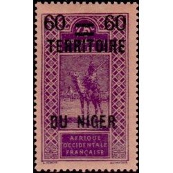 1 عدد تمبر سری پستی - سورشارژ قلمرو نیجر و قیمت - 60 سنت - نیجر 1922 با شارنیه