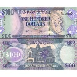 اسکناس 100 دلار - گویانا 2009 فیلیگران طوطی و نقشه