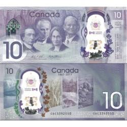 اسکناس پلیمر 10 دلار - یادبود 150مین سالگرد استقلال کانادا  - کانادا 2017 سفارشی - توضیحات را ببینید