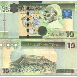 اسکناس 10 دینار - تصویر عمر مختار - لیبی 2011 سری 7A