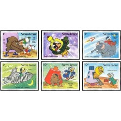 6 رقم از 8 عدد تمبر شخصیتهای کارتونی والت دیسنی - سیرالئون 1983 قیمت 7 دلار