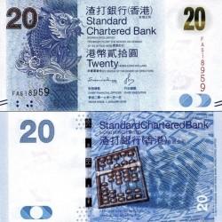 اسکناس 20 دلار - چارتر بانک استاندارد - هنگ کنگ 2016