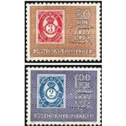 2 عدد تمبر صدمین سال چاپ اولین تمبر با نشان شیپور - Posthorn - نروژ 1972