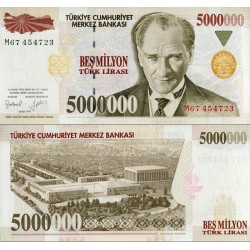 اسکناس 5000000 لیر - ترکیه 1997