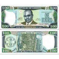 اسکناس 100 دلار - لیبریا 2011 عبارت پشت بانک مرکزی لیبریا - با لیبل CBL که مورب قابل مشاهده است