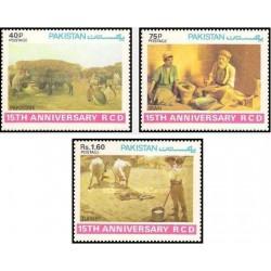 3 عدد تمبر پانزدهمین سالگرد همکاری عمران منطقه ای - B  - RCD - پاکستان 1979