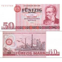 اسکناس 50 مارک - فردریش انگلس - جمهوری دموکراتیک آلمان 1971 ارقام سریال نازک -  سفارشی - توضیحات را ببینید