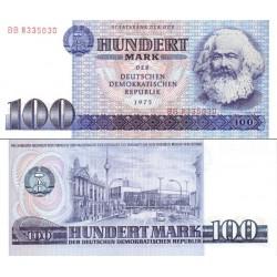 اسکناس 100 مارک - کارل مارکس - جمهوری دموکراتیک آلمان 1975 ارقام سریال درشت -  سفارشی - توضیحات را ببینید