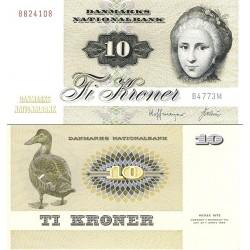 اسکناس  10 کرون - دانمارک 1977  رقم دوم و سوم بلاک سال انتشار
