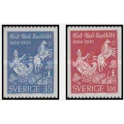 2 عدد تمبر اریک آکسل - Erik Axel Karlfeldt  - سوئد 1964 قیمت 3.9 دلار