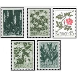5 عدد تمبر گلهای وحشی- سوئد 1968