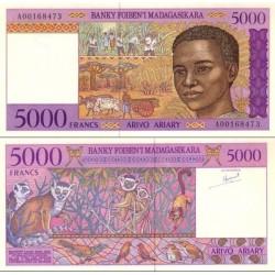 اسکناس 5000 فرانک - 1000 آریاری - ماداگاسکار 1995